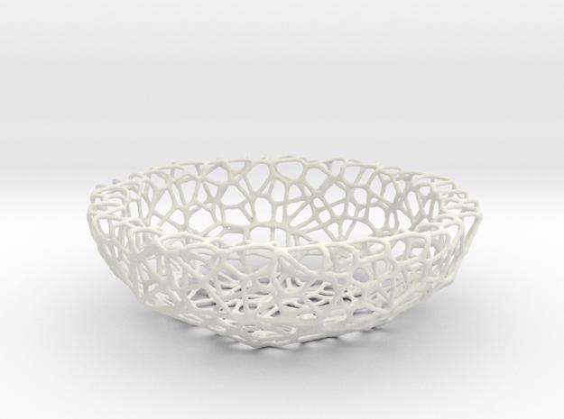 Fruit bowl (34 cm) - Voronoi-Style #1 in White Natural Versatile Plastic