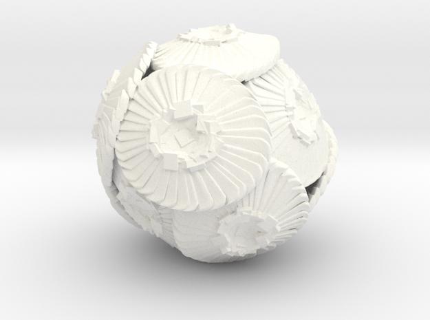 Coccolithus Sculpture 12cm  in White Processed Versatile Plastic
