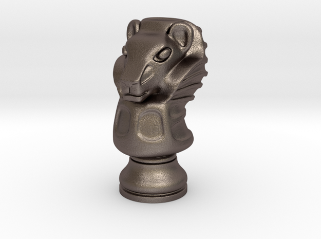 13Lion Small Single in Polished Bronzed Silver Steel