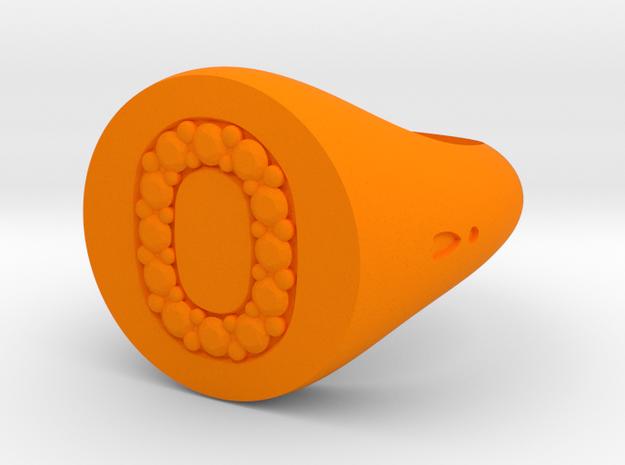 """Ring Chevalière Initial """"O""""  in Orange Processed Versatile Plastic: 5 / 49"""
