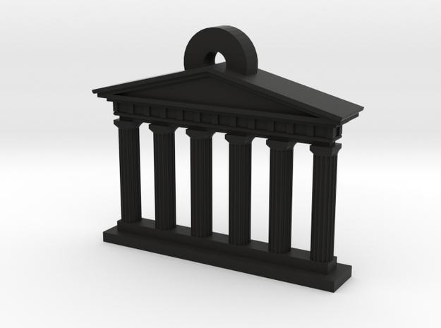 Mini Greek Temple Keychain in Black Strong & Flexible