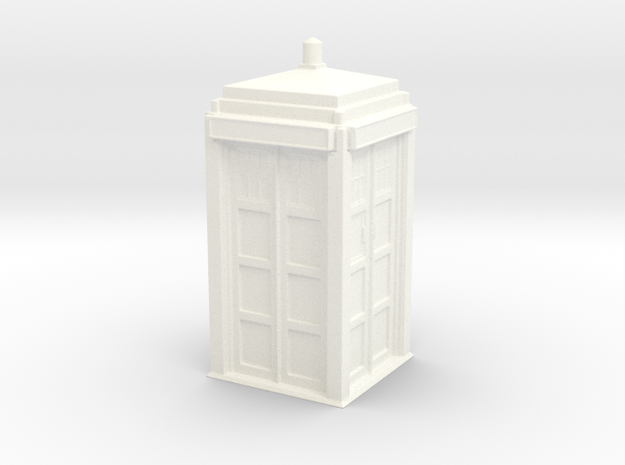 The Physician's Blue Box in 1/35 scale (complete) in White Strong & Flexible Polished