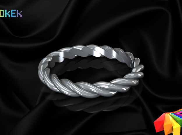 Twisted sz17 in Polished Bronzed Silver Steel