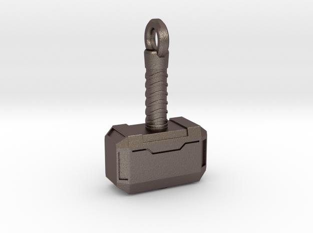 Mjolnir Keychain in Polished Bronzed Silver Steel