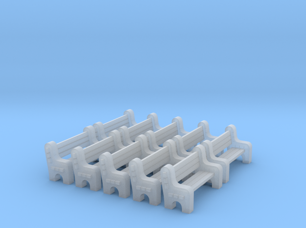 Street Bench - Qty (10) N 160:1 Scale in Smooth Fine Detail Plastic