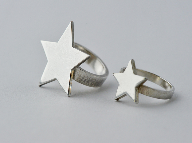 Silver Star Ring Size L in Polished Silver