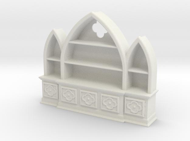 Gothic Bookshelf, version 3 in White Natural Versatile Plastic