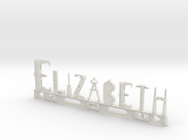 Elizabeth Nametag in White Natural Versatile Plastic