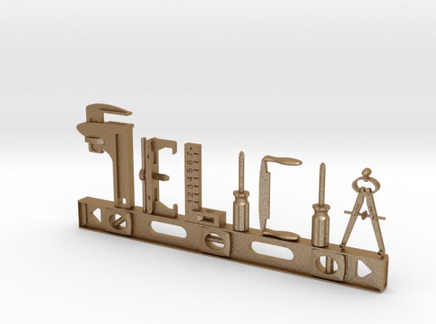Felicia Nametag in Matte Gold Steel
