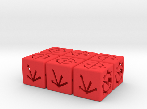 Special order dice x 6 in Red Processed Versatile Plastic