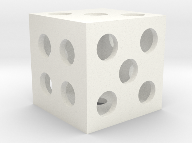 Hollow Square Dice in White Processed Versatile Plastic