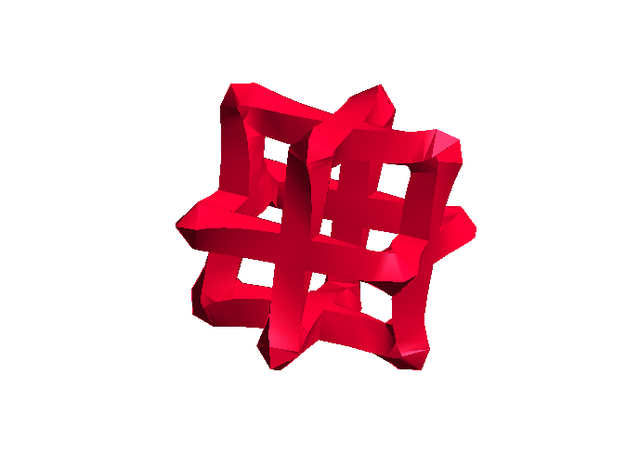 Mesh Cube - big in Red Processed Versatile Plastic