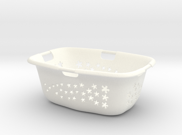 1:6 Laundry Basket in White Strong & Flexible Polished