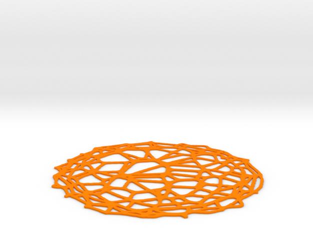 Coaster - Voronoi #4 (13 cm) in Orange Processed Versatile Plastic