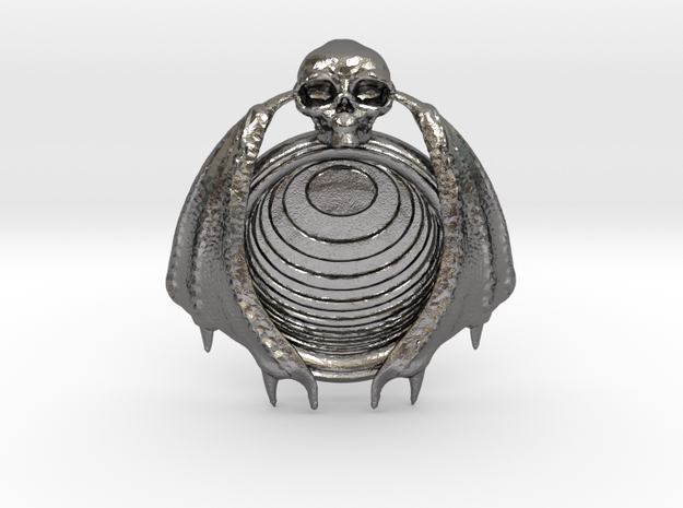 Bat Skull Eye pendant in Polished Nickel Steel