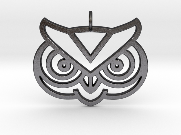 Owl Head Pendant in Polished and Bronzed Black Steel