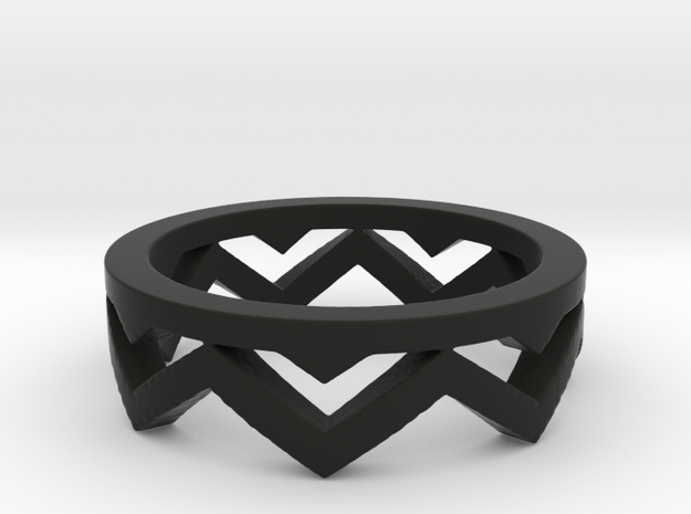 Chevron Ring in Black Natural Versatile Plastic