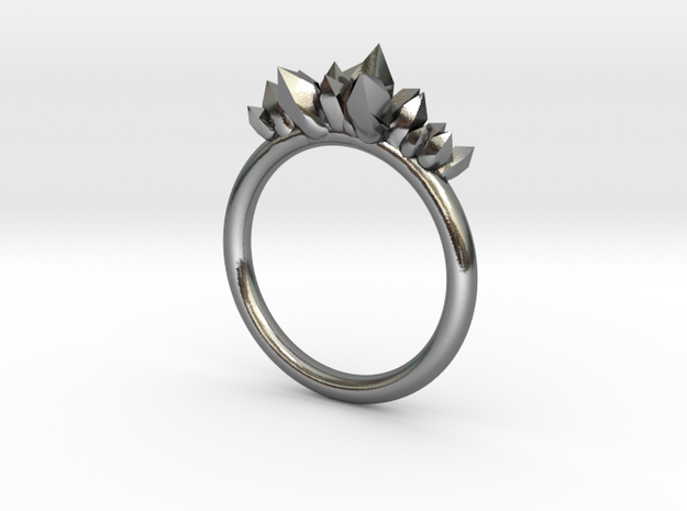 Crystal Ring (17mm) in Polished Silver
