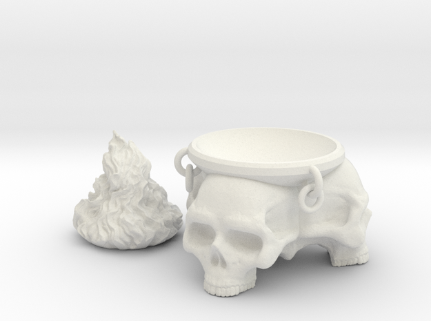 Brazier. Brazier with skulls and removable flames. in White Natural Versatile Plastic