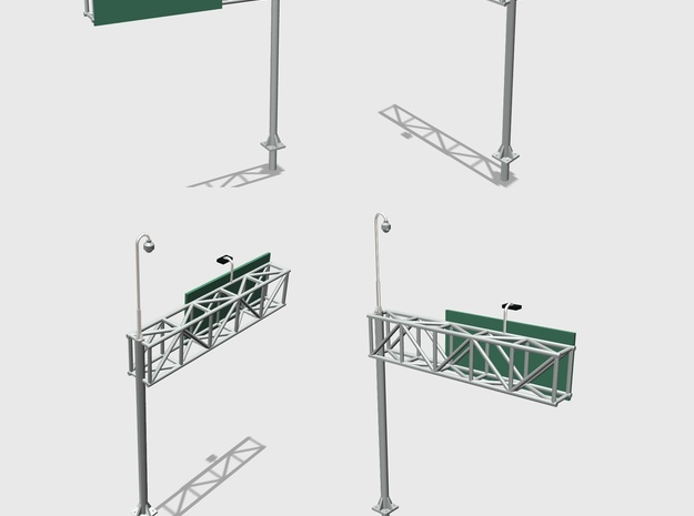 Highway Cantilever Sign With CCTV 1-87 HO Scale 2  in Frosted Ultra Detail: 1:87