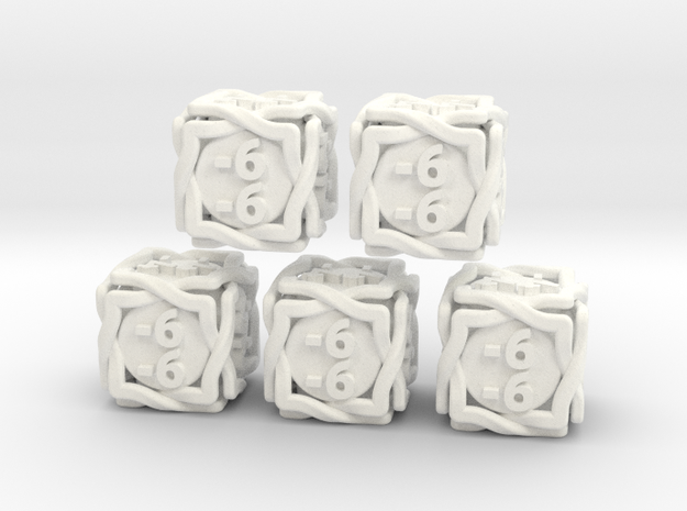 5 × 'Twined' D6 -1/-1 counters (14 mm) SOLID in White Strong & Flexible Polished