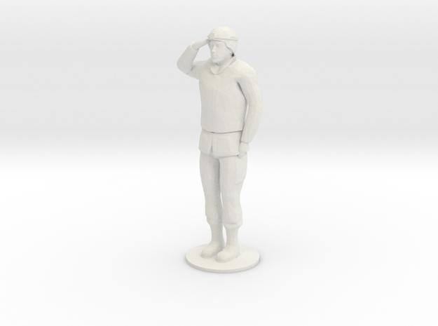 Male Soldier Salute in White Natural Versatile Plastic