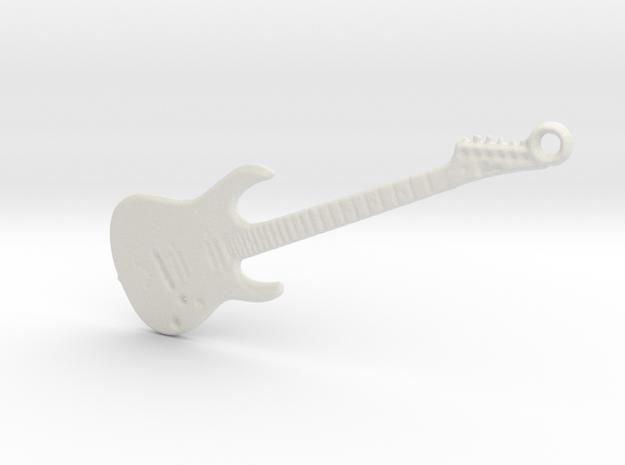 Rock Guitar Pendant in White Natural Versatile Plastic