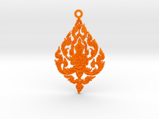 Buddha Pendant in Orange Processed Versatile Plastic