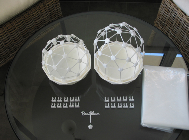 Mini Greenhouse-Dome Set #2 - long (clickable) in White Natural Versatile Plastic
