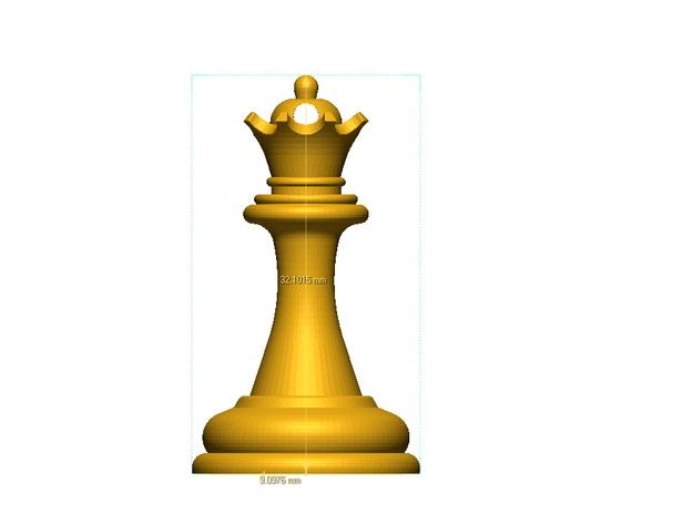 Chess Queen in Metallic Plastic