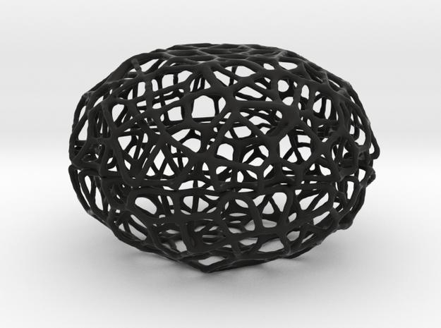 Voronoi Pearl Light Lamp No. 3 (10,5 cm) in Black Natural Versatile Plastic