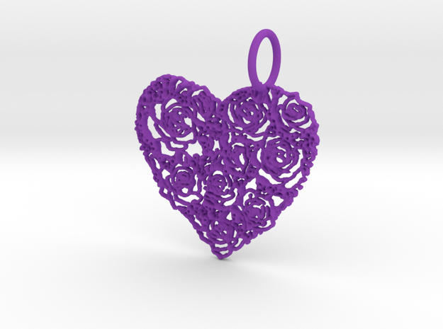 Love ShapePendant in Purple Processed Versatile Plastic