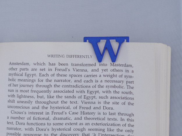 Bookmark Monogram. Initial / Letter W  in Blue Strong & Flexible Polished