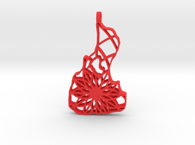 3D Printed Block Island Keychain 2 in Red Processed Versatile Plastic