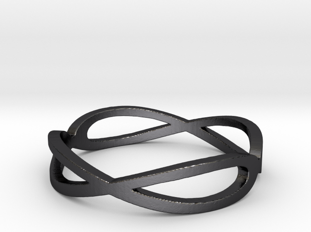 Aeon Double Infinity Ring Size 10.75 in Polished and Bronzed Black Steel