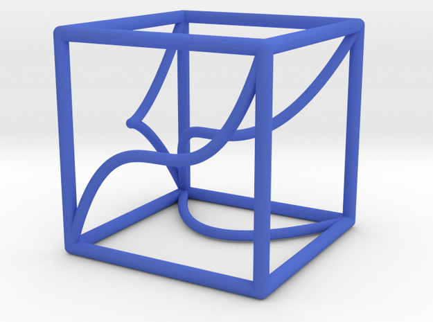 Space Curve in a Cube and Projections in Blue Processed Versatile Plastic