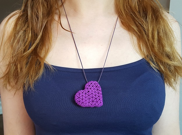 Knots Heart pendand in Purple Strong & Flexible Polished