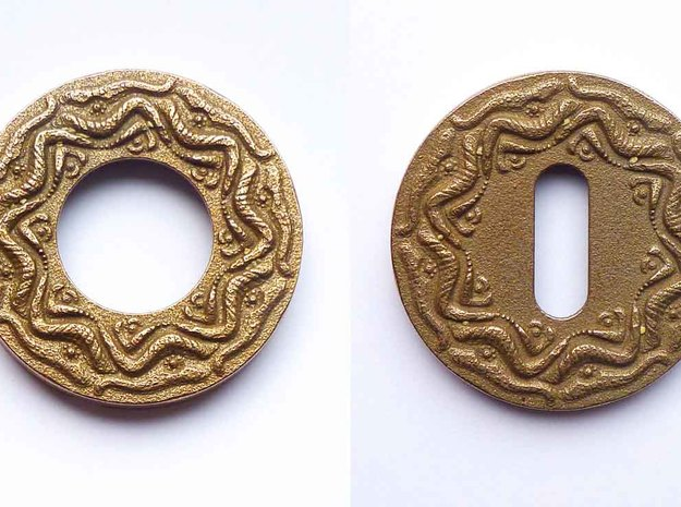 """Escutcheon for Dragon door handles - """" The Temple  in Polished Bronzed Silver Steel"""