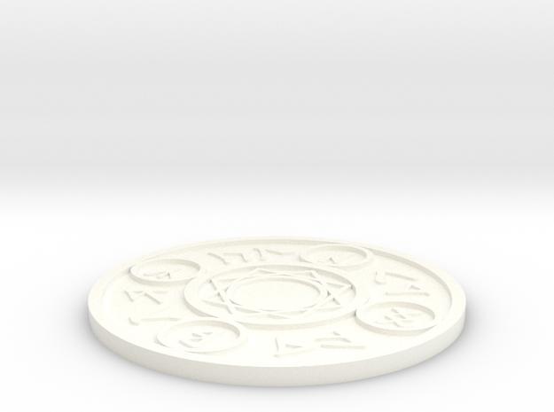 Magic Spell Circle Coaster in White Processed Versatile Plastic