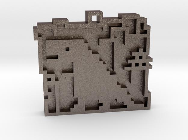 "Minimalist pixel-art style pendant ""Tokio"". Design in Polished Bronzed Silver Steel"