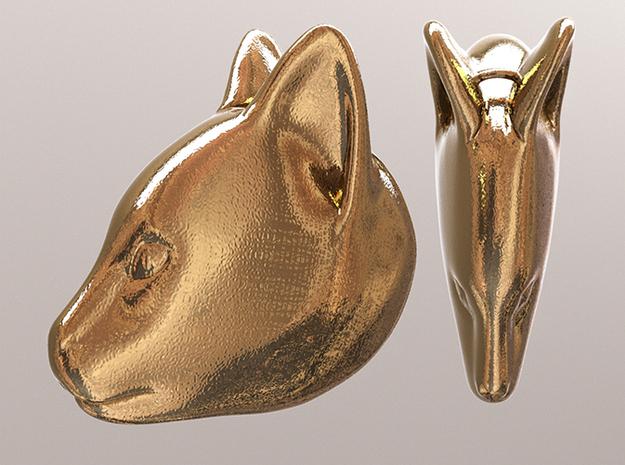 Cat 3d printed Polished Gold Steel (simulation Render)