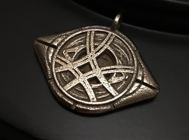 Eye Of Agamotto Keychain in Polished Bronzed Silver Steel