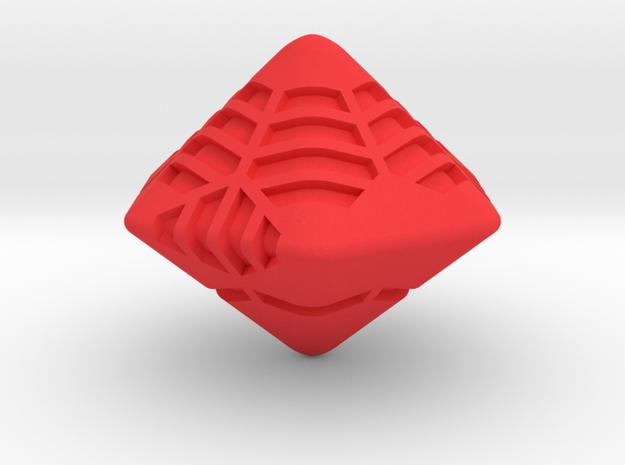 Stripes D12 (hexagonal bipyramid version) in Red Processed Versatile Plastic