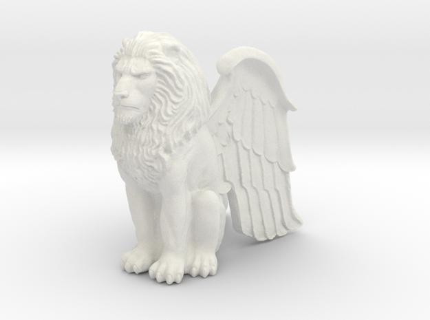 Winged Lion 25mm in White Natural Versatile Plastic