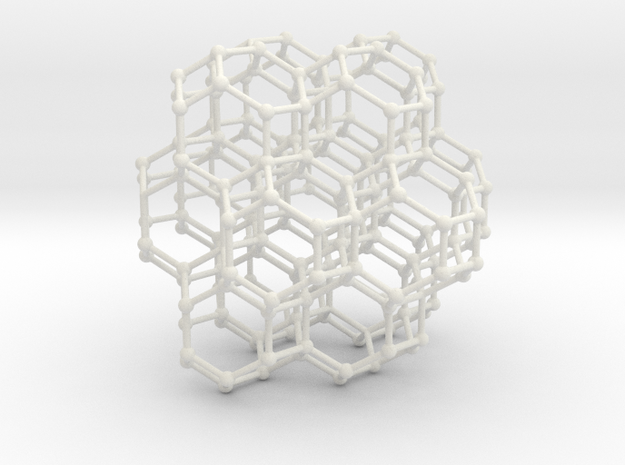 Bitruncated Cubic Honeycomb Sacred Geometry 80mm  in White Strong & Flexible