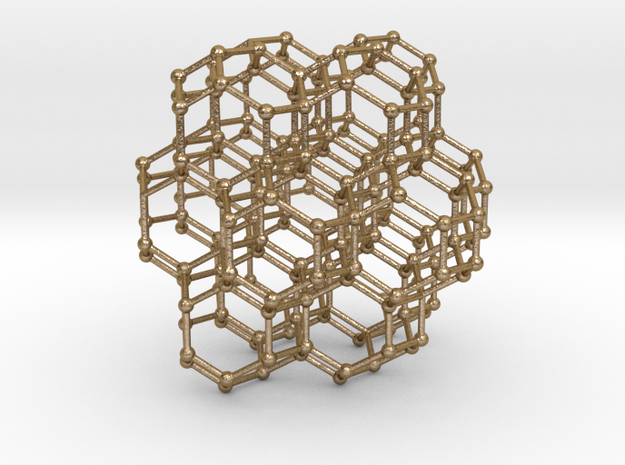 Bitruncated Cubic Honeycomb Sacred Geometry 80mm  in Polished Gold Steel