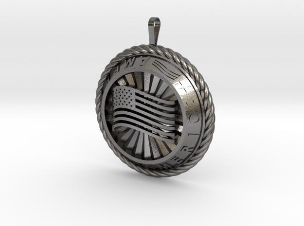 America Medalion in Polished Nickel Steel