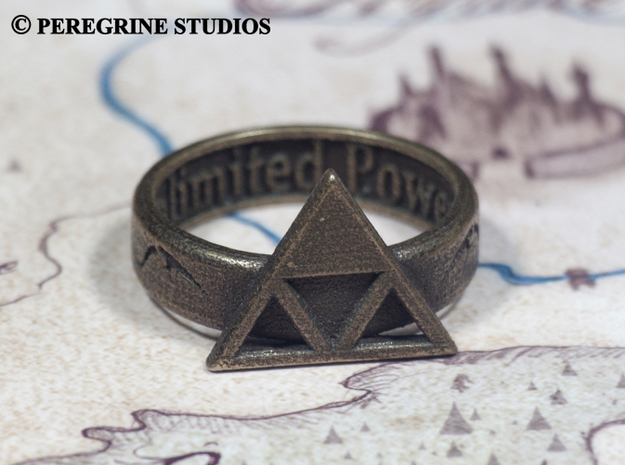 Ring - Triforce of Power (Size 13) 3d printed Polished Bronze Steel