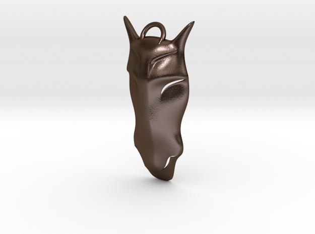 Mustang Head Pendant in Polished Bronze Steel