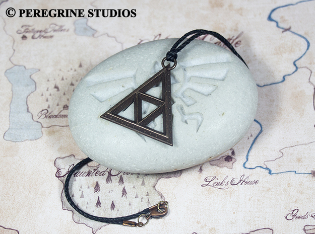 Pendant - TriForce (Bumps) 3d printed Polished Bronze Steel
